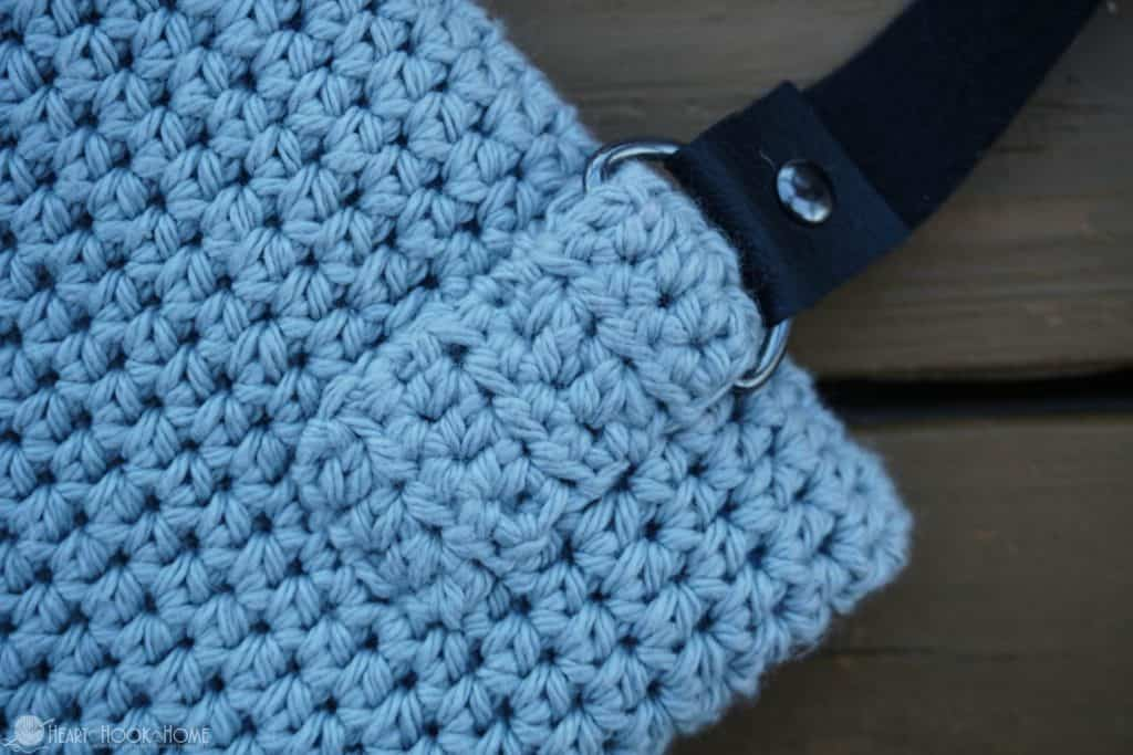 How to sew a strap to a crocheted bag