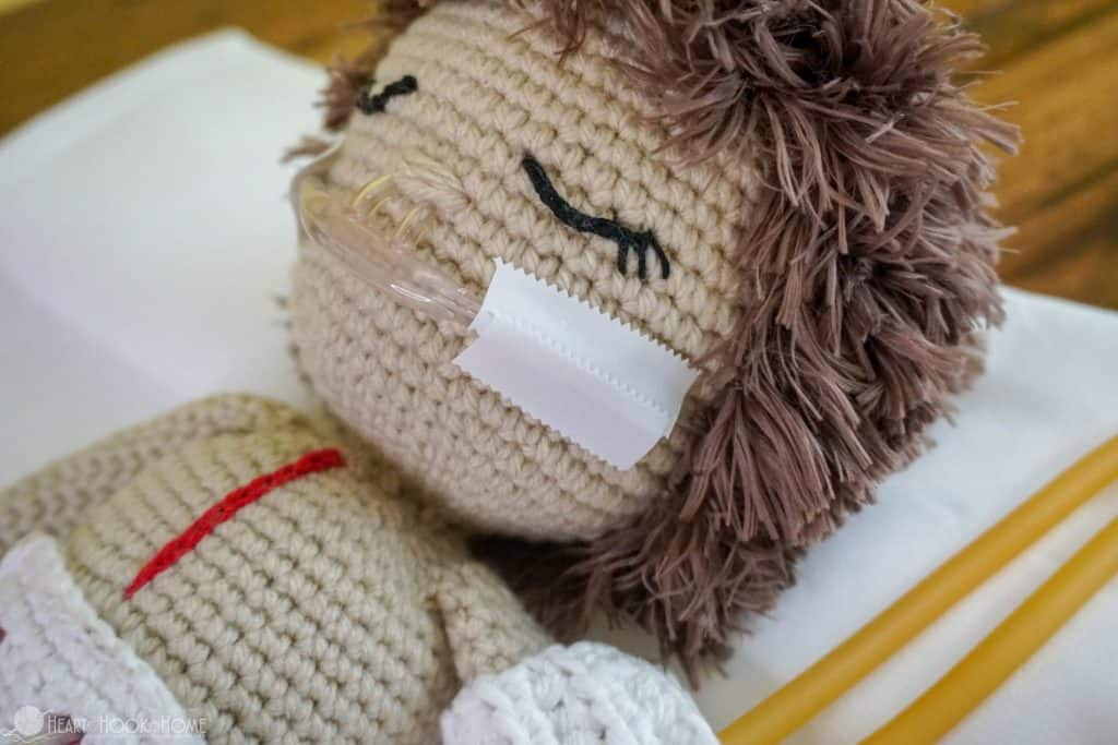 crocheted medical doll