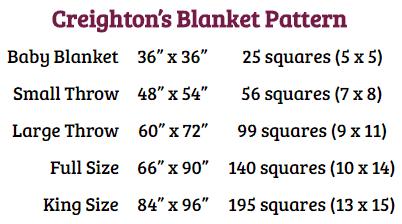Creighton's Blanket Crochet Pattern Size Chart