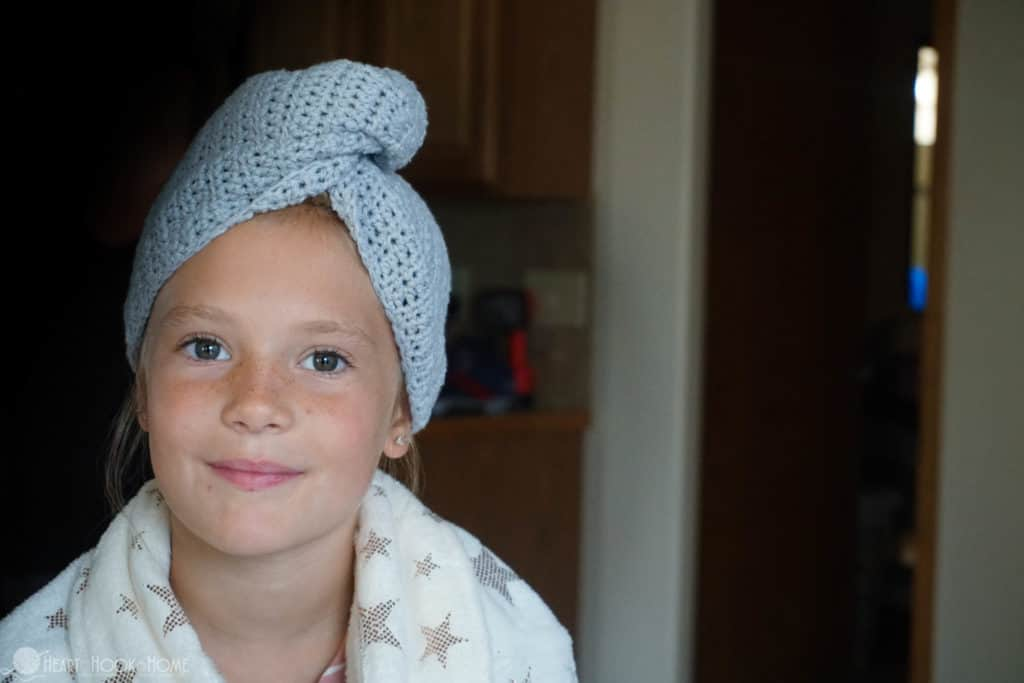Child size hair towel crochet pattern