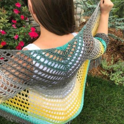 It's Shawl Good Cardigan: Fringed Triangle Shawl with Sleeves Crochet Pattern
