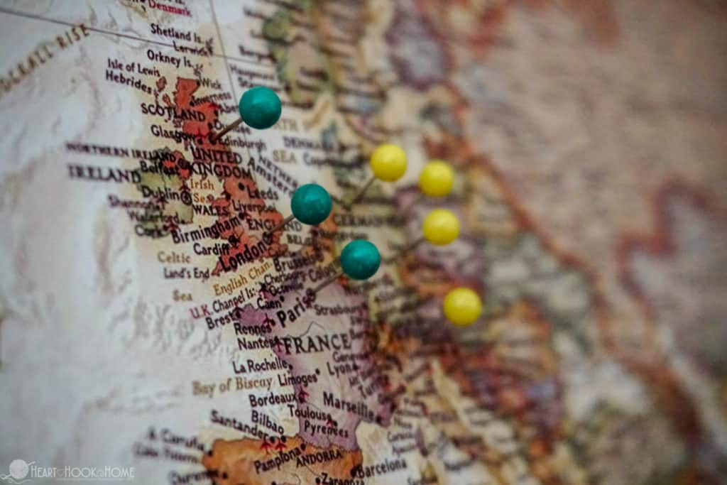inexpensive easy diy world travel map with push pins tutorial