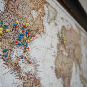 Inexpensive world travel map with pins