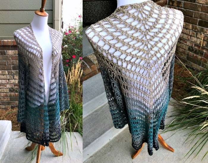 Its Shawl Good Cardigan Fringed Triangle Shawl With Sleeves