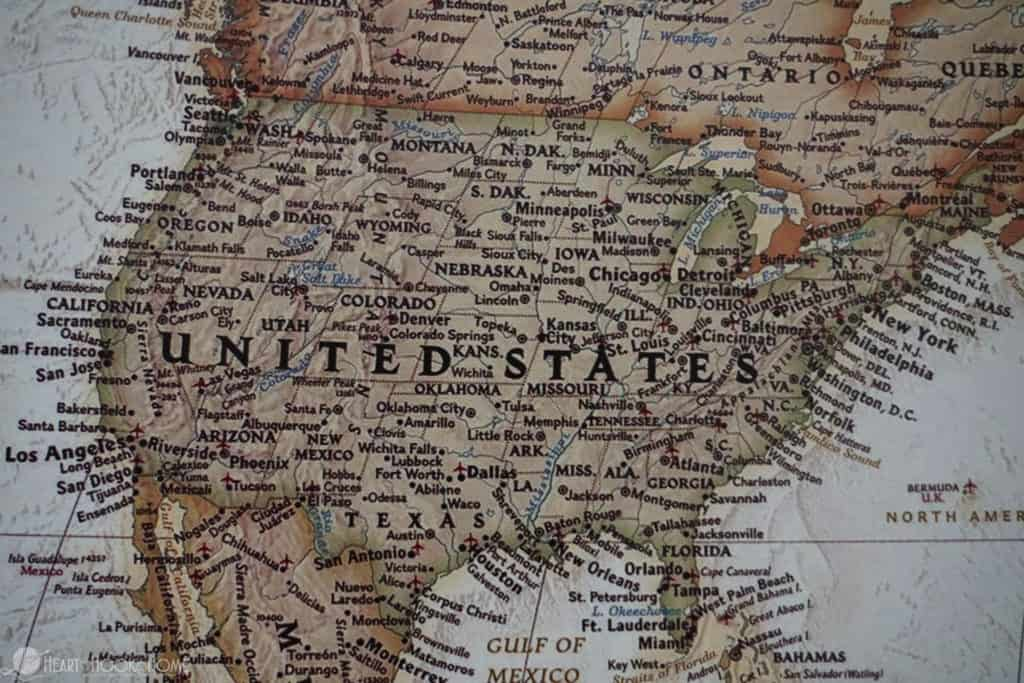 Travel map of united states