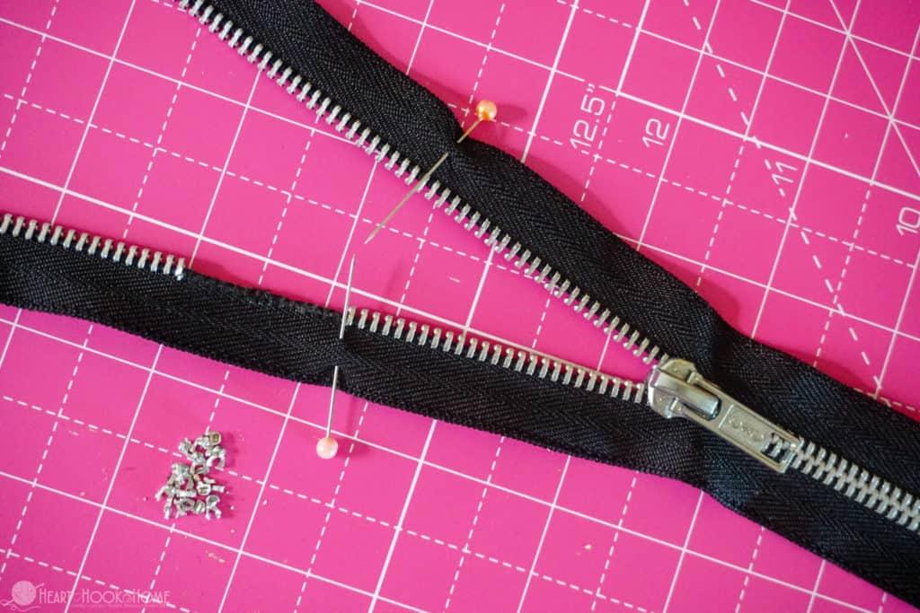 Shorten a zipper