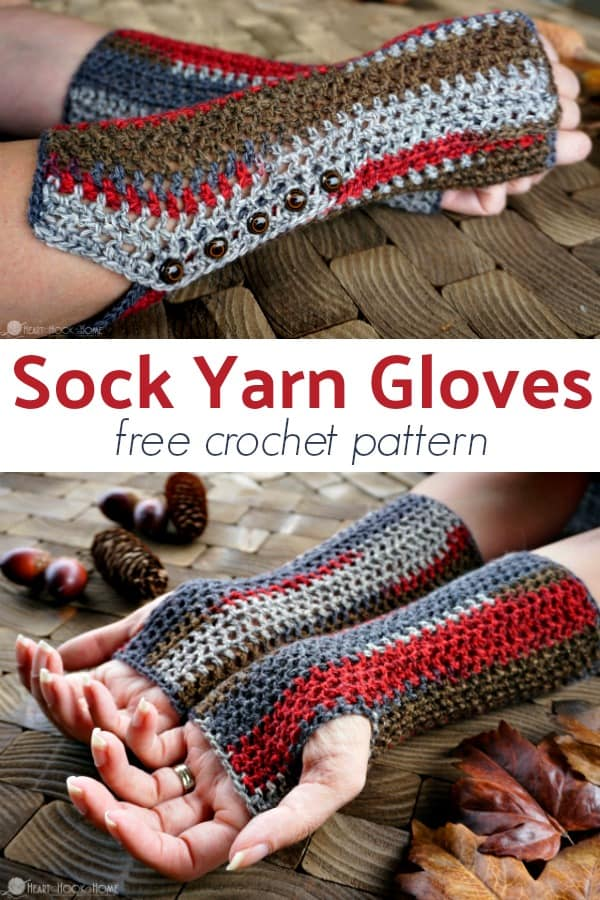 Sock Yarn Gloves free crochet pattern