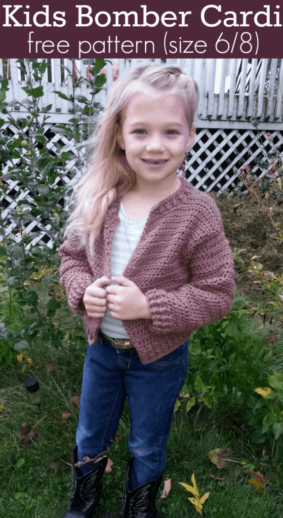 6/8 Kids Bomber cardigan pattenr