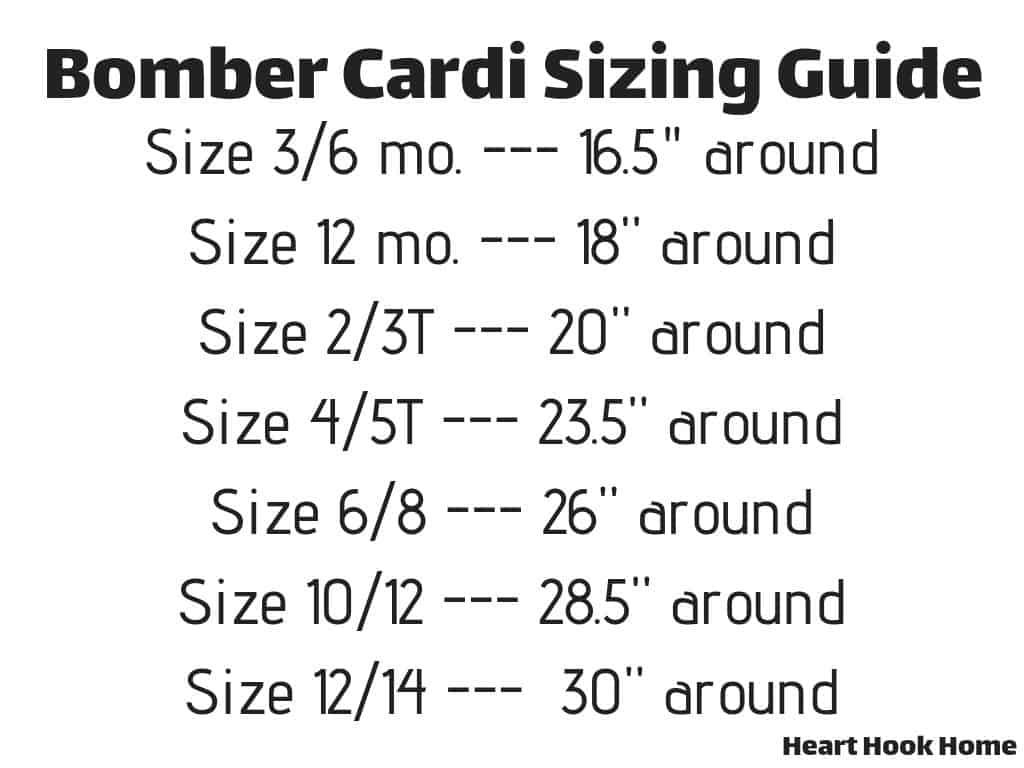Bomber Cardi Sizing Guide