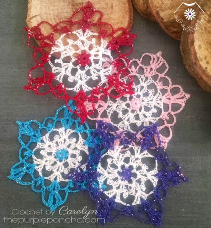colorful snowflakes crochet pattern