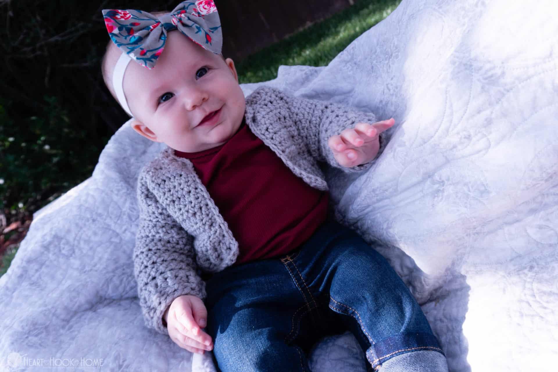 Infant Bomber Cardi Crochet Pattern 3 6 Months