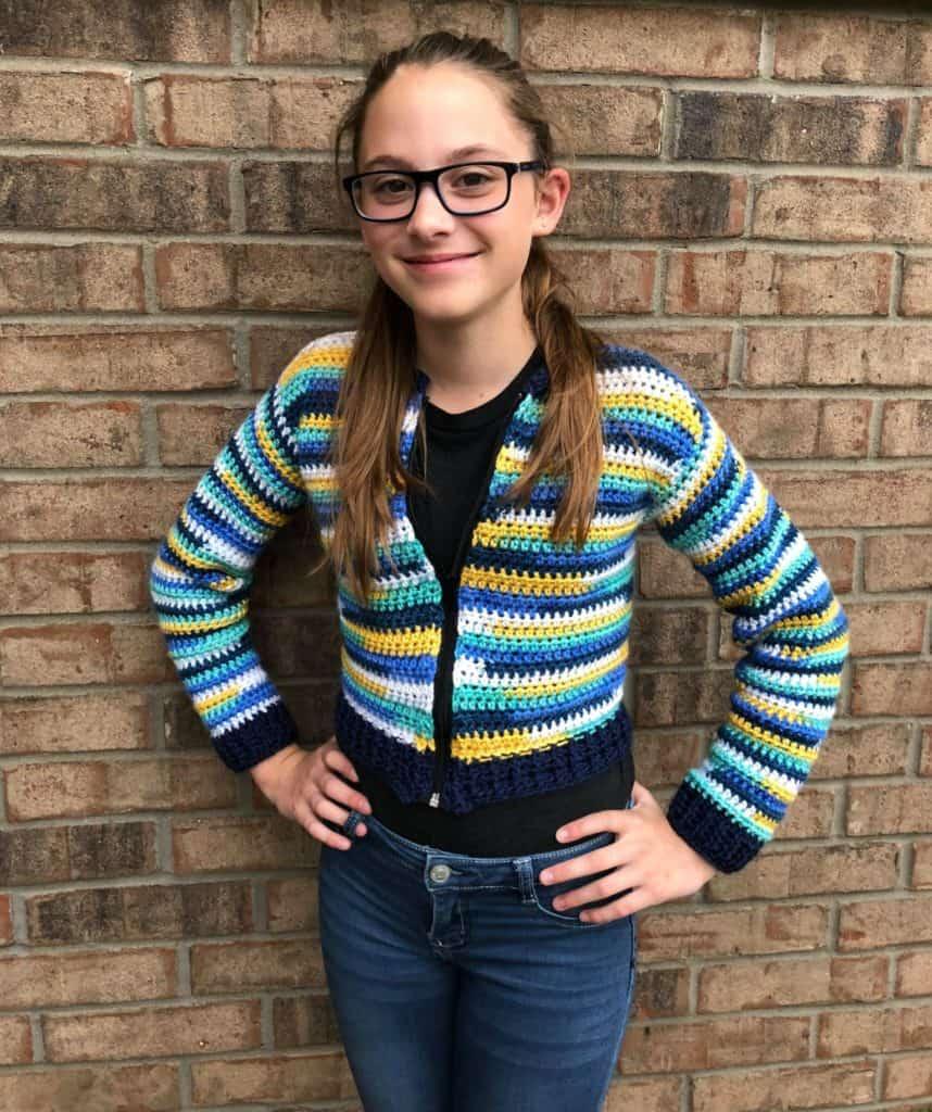 Bomber Cardi for Kids Crochet Pattern (size 10/12)