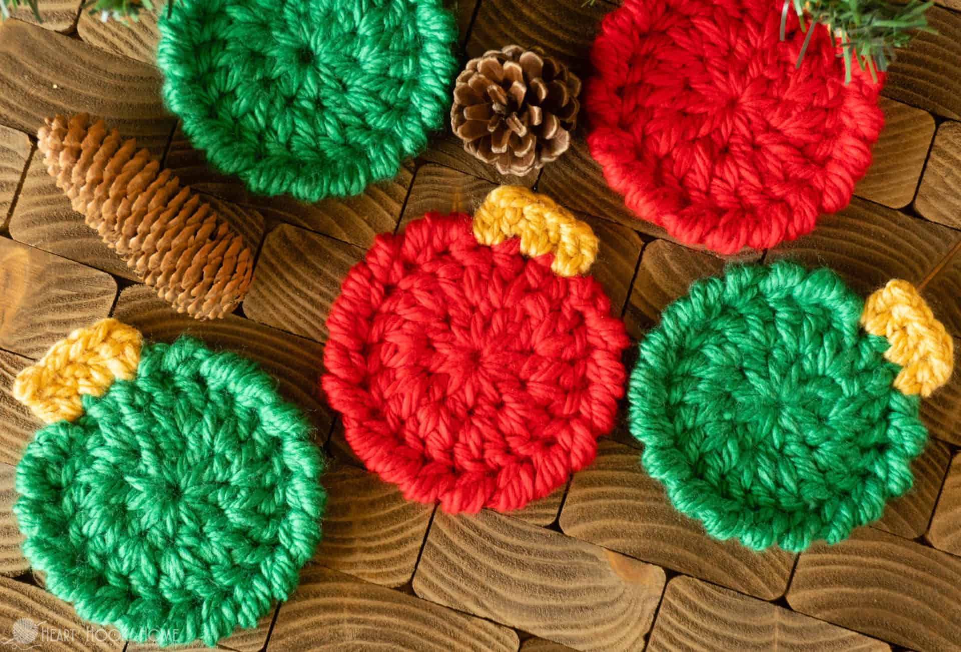 Christmas Ornament Coasters - Free Crochet Pattern