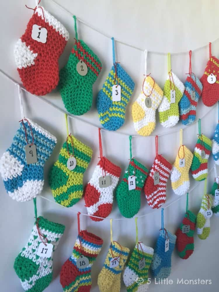 Stocking Christmas garland advent calendar