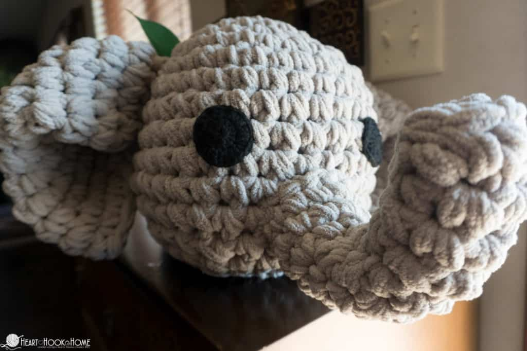 Elephant pillow free crochet pattern