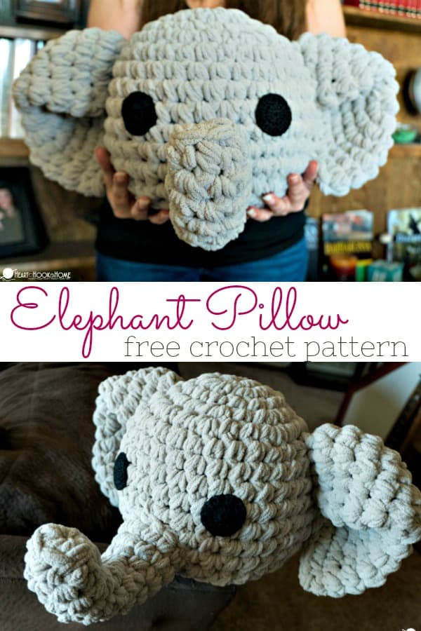 Free Elephant pillow crochet pattern