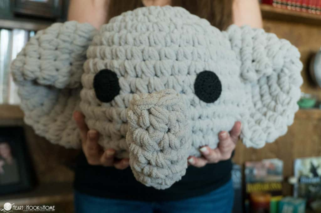 Adorable elephant pillow crochet pattern for nursery