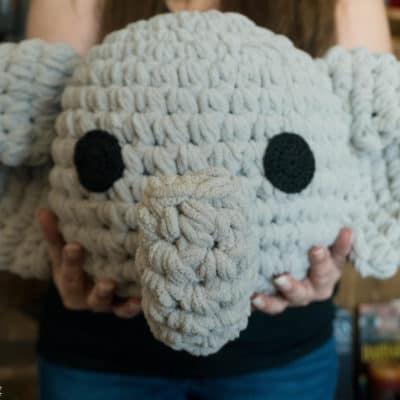 Nursery elephant pillow crochet pattern