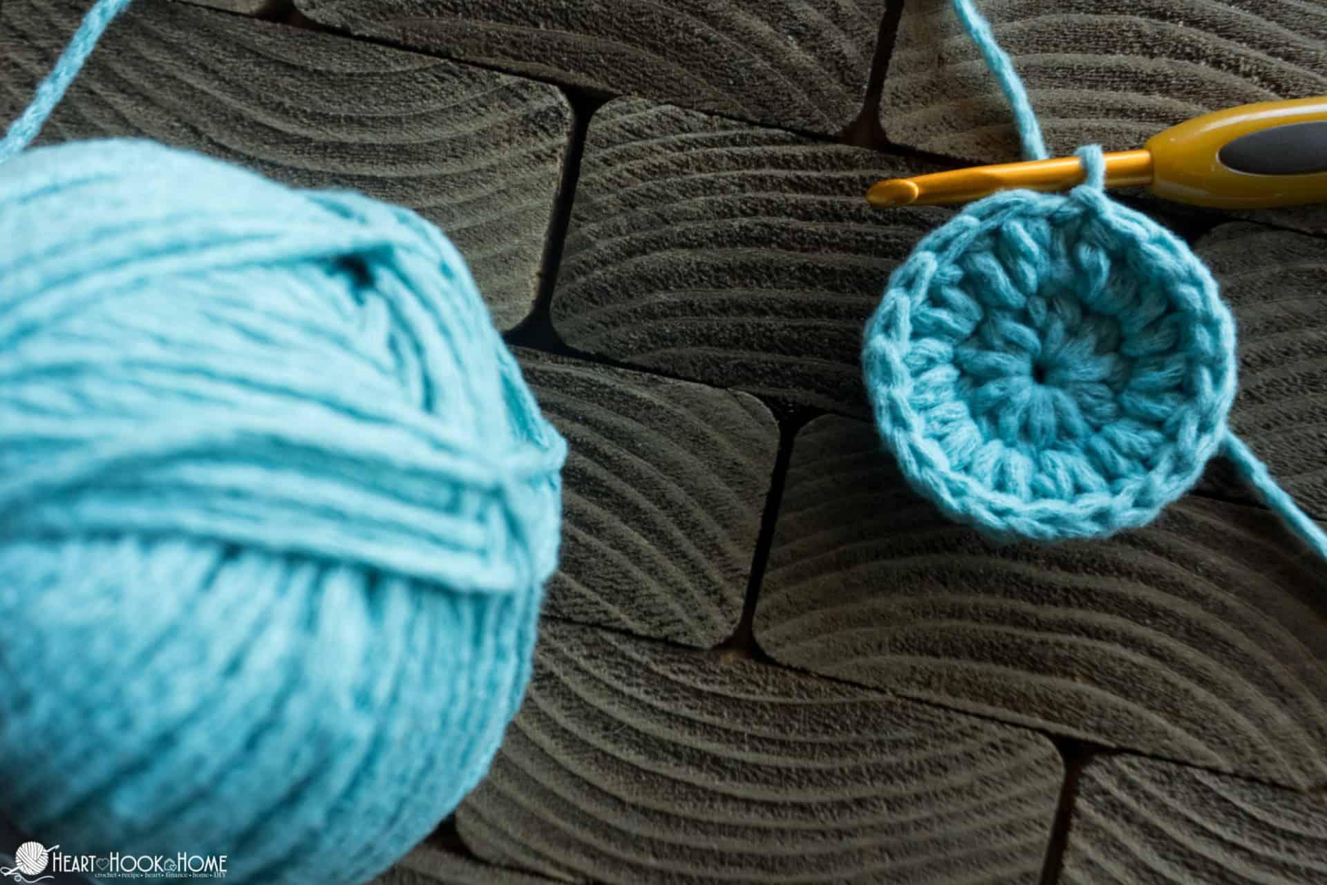 Row 2 of beret crochet pattern