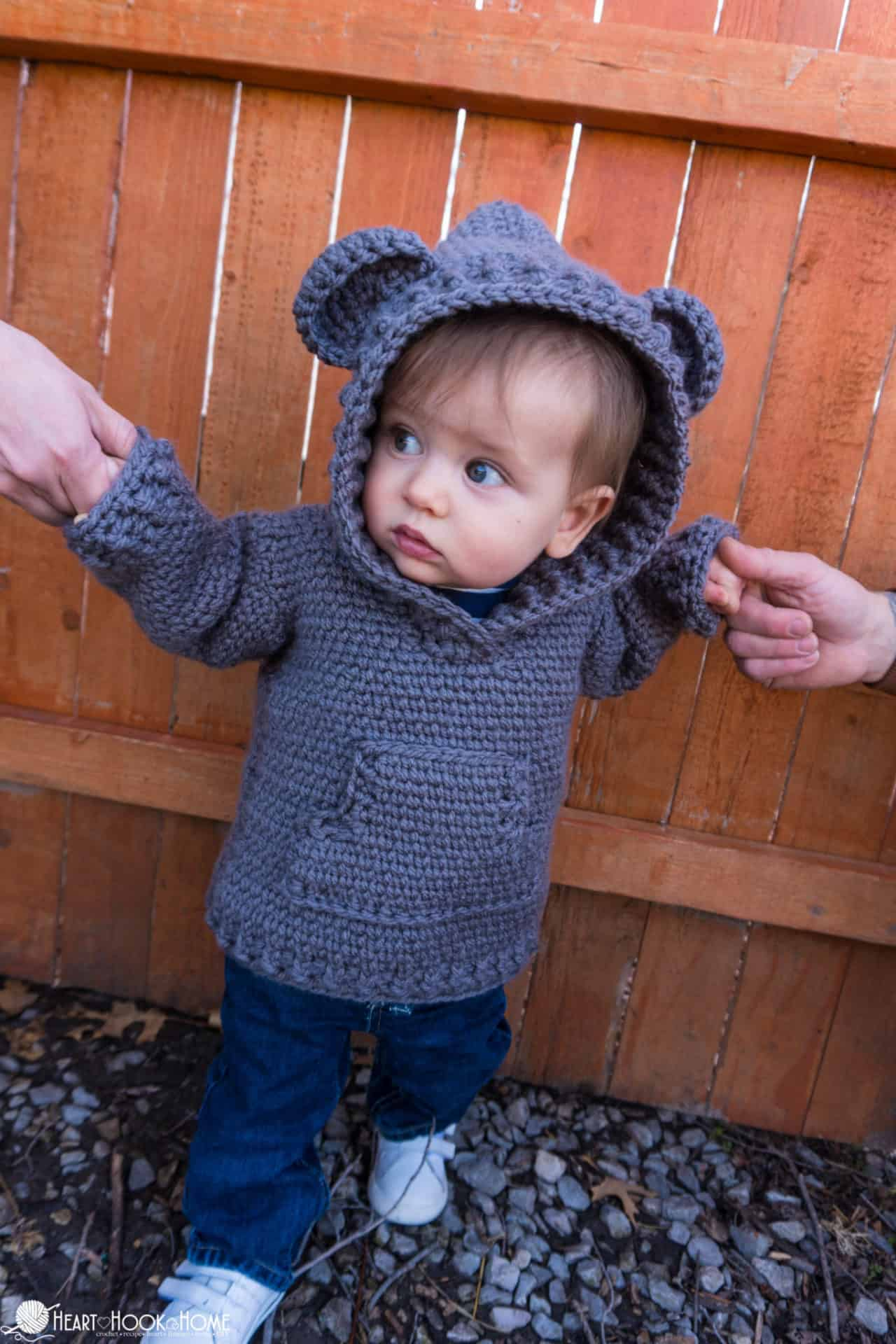 12/18 month infant hoodie free crochet pattern