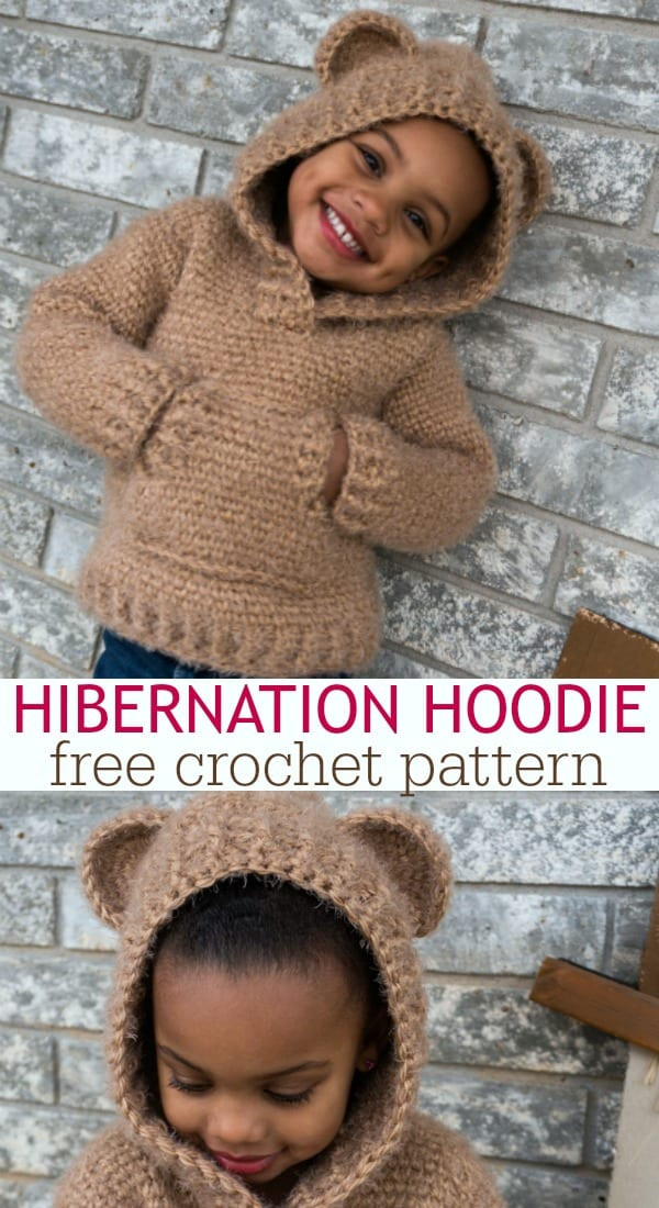 Hibernation Hoodie free pattern for kids