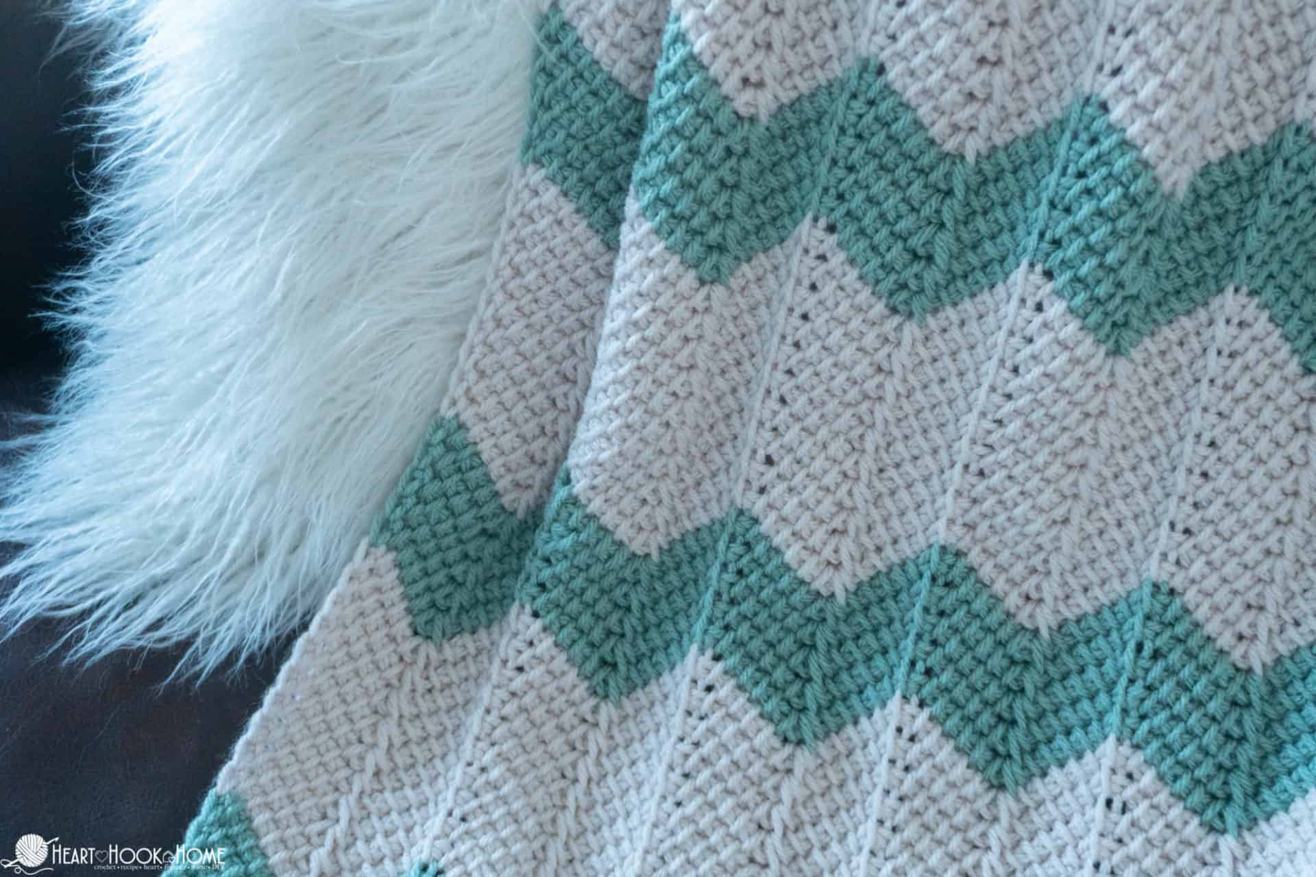 Free Pattern for Tunisian Chevron Baby Blanket