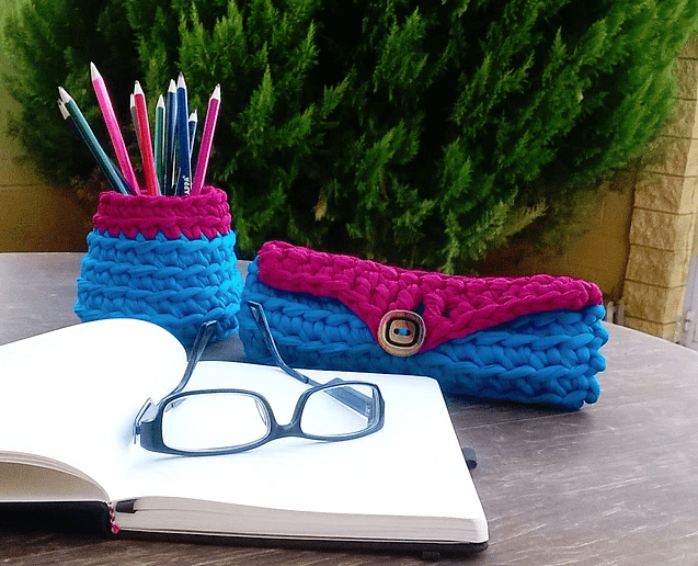 pencil case and cup