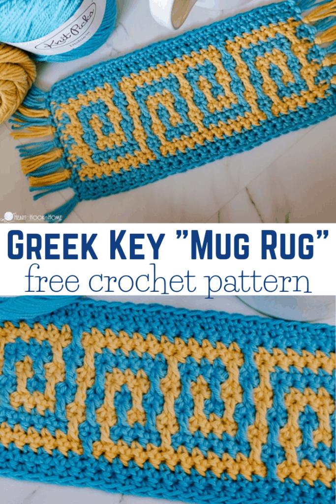 "Greek Key ""Mug Rug"" Crochet Pattern"