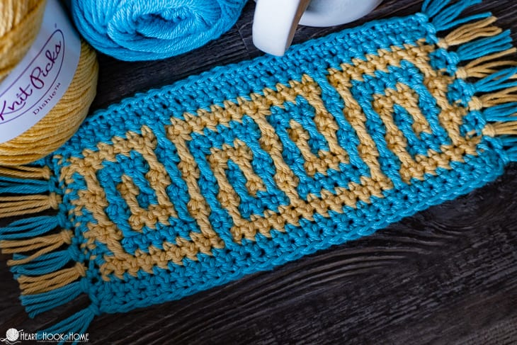Greek Key Crochet mug rug