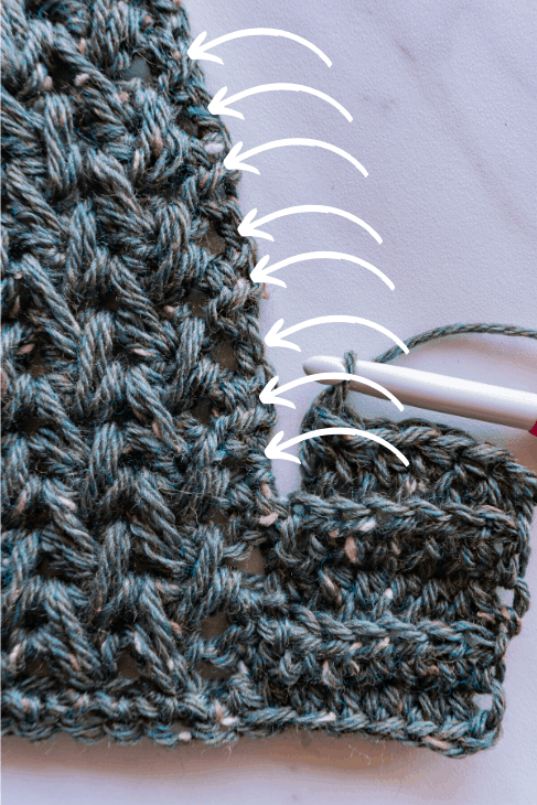 slip stitch placement on Cordillera cape pattern
