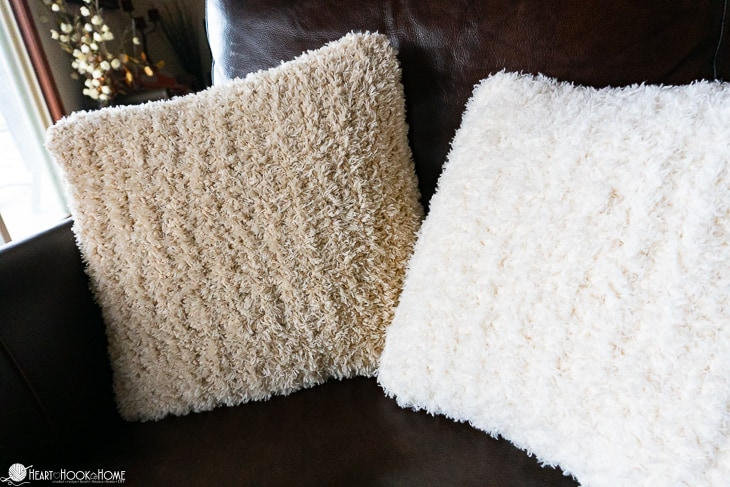 Fuzzy Throw Pillow Cover Free Crochet Pattern