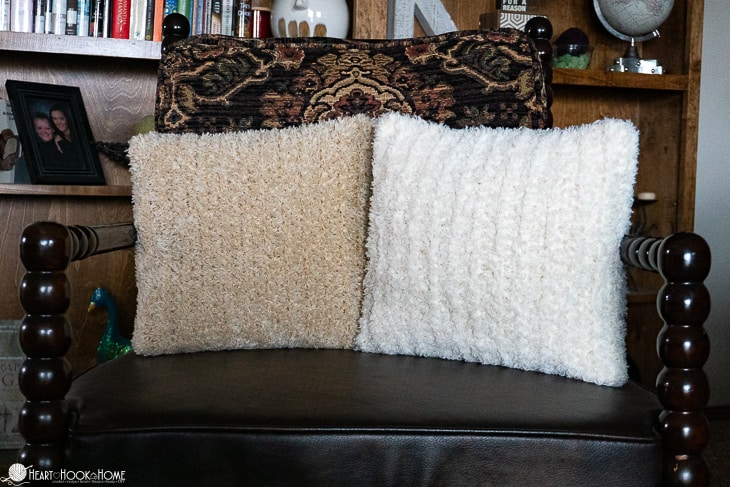 furry throw pillow cover free crochet pattern