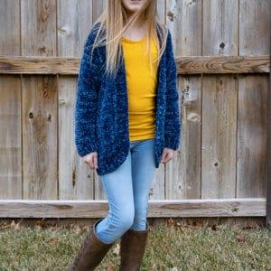 free velvet yarn cardigan pattern for children