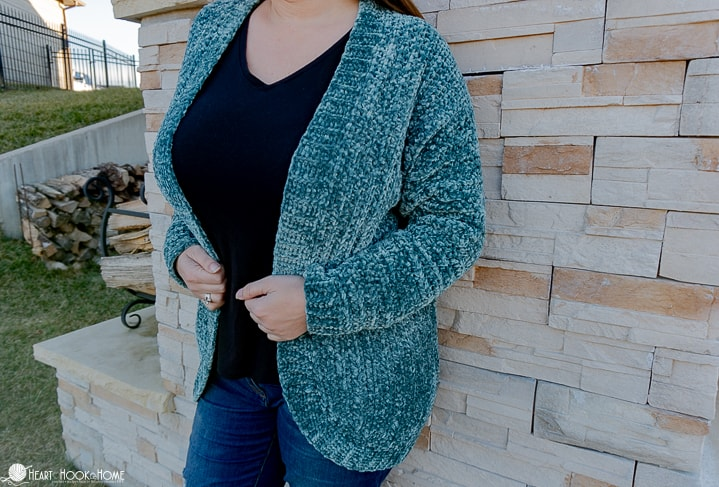 Adult velvet cardigan crochet pattern