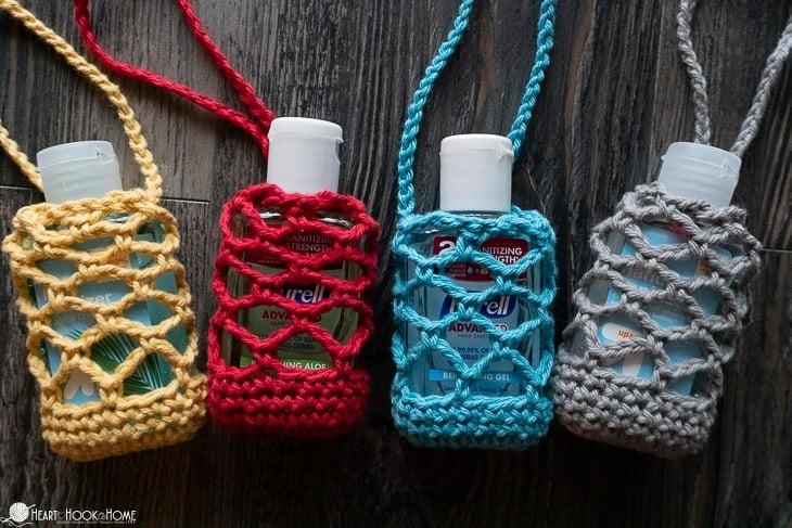 Sparkly Red Crochet Hand Sanitizer Holder Keychain!