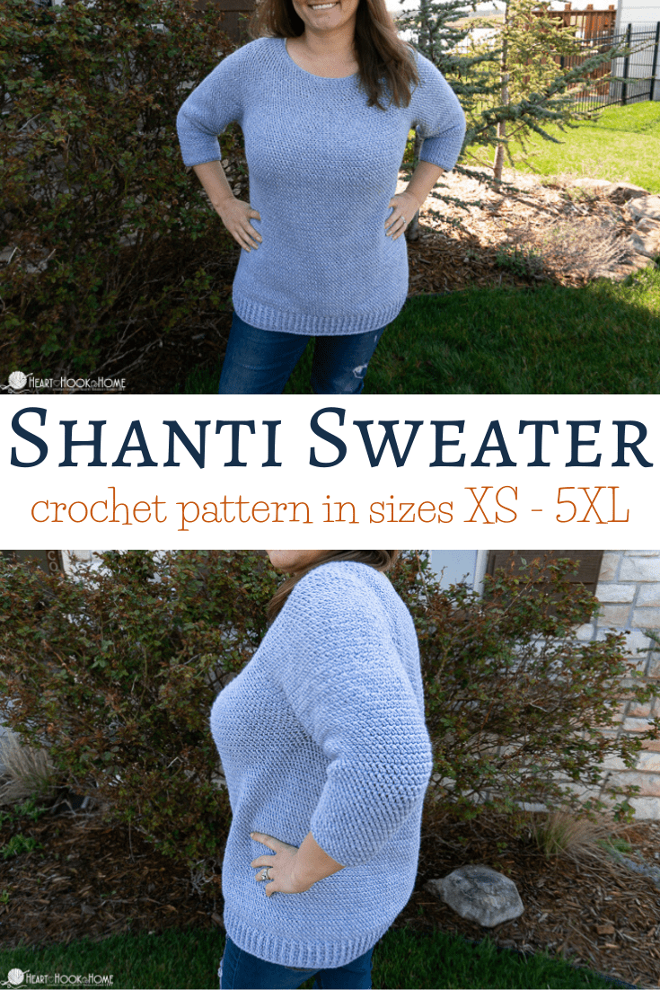 Shanti Sweater Crochet pattern (XS - 5XL)