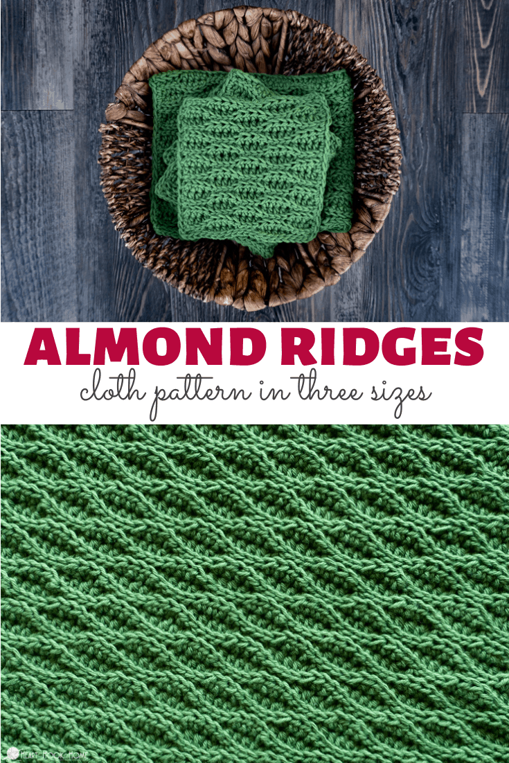 Almond Ridges Cloths in three sizes - free crochet pattern