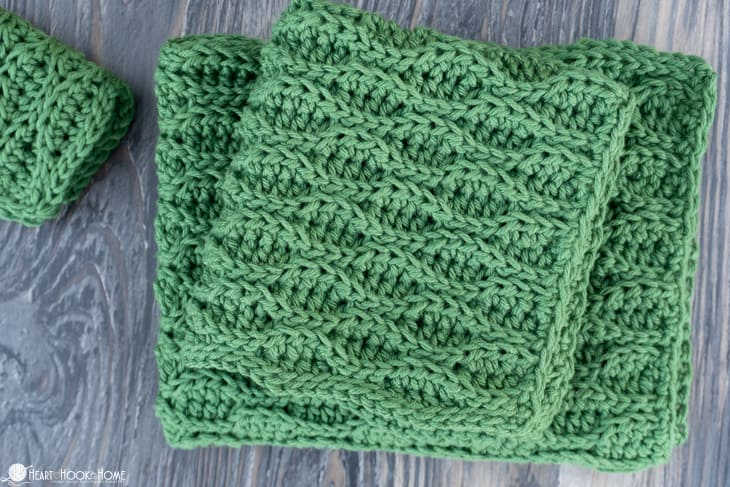 almond ridges crochet washcloth