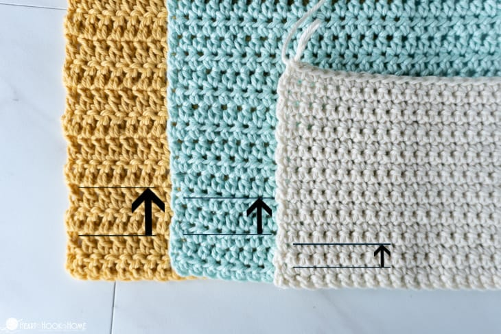 two rows of crochet stitches