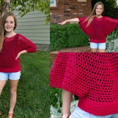 kids flow poncho free crochet pattern