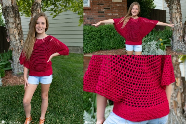 kids flow poncho free crochet pattern