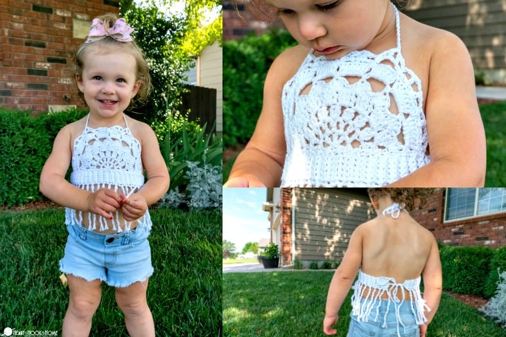 Toddler Boho Halter Top free crochet pattern