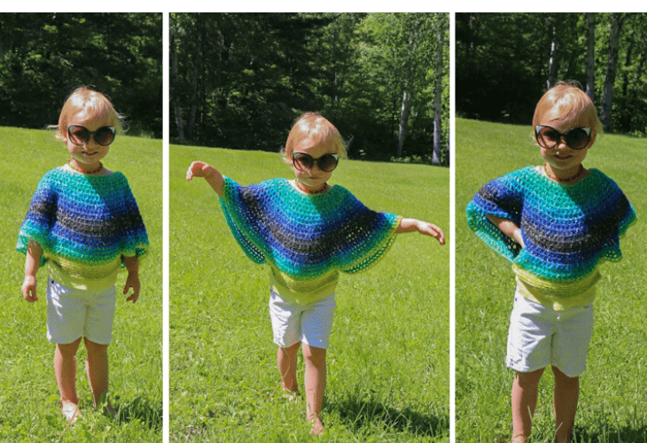 child size flowy poncho free crochet pattern