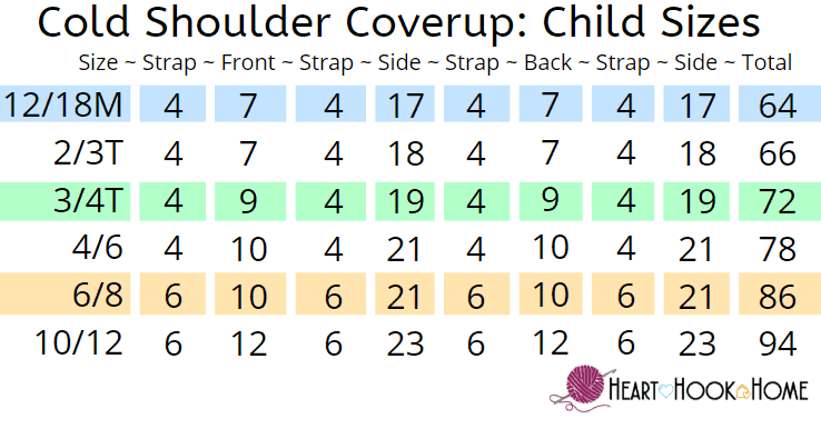Child Size Cold Shoulder crochet pattern sizing chart