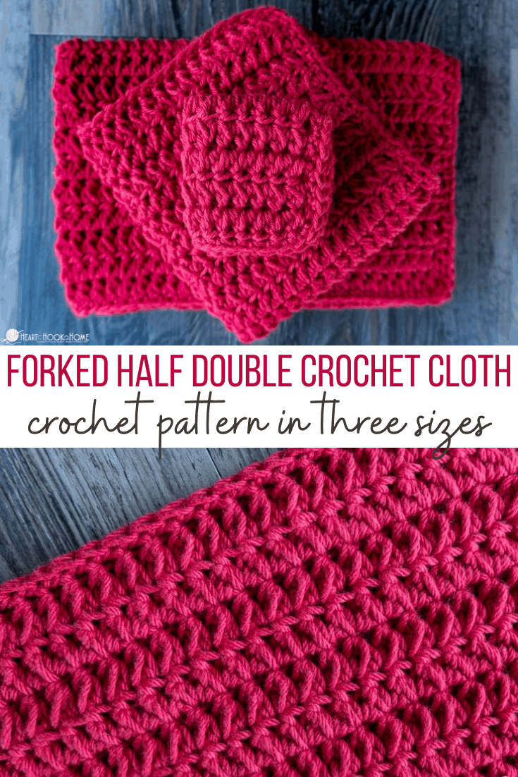Forked half double crochet cloth
