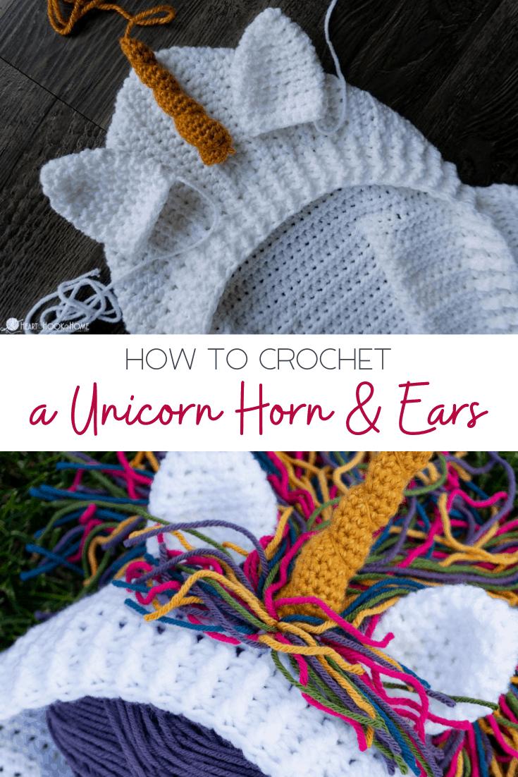 how to crochet unicorn horn and ears