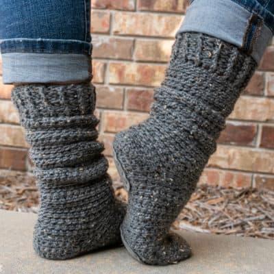 slipper soles on crocheted socks