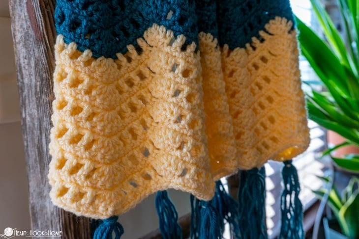 Open Ripple Chevron crochet blanket pattern
