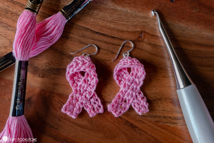 cancer awareness earrings crochet pattern