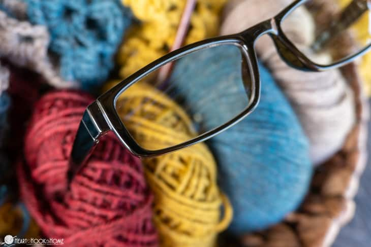Reading glasses for crochet